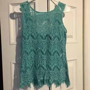 Lacy blue zip up tank